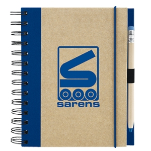 Recycled Spiral Notebook with Matching Color Pencil Ballpoint