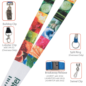 "LA34RHT 3/4"" Recycled Multi-Color Sublimation Lanyard"