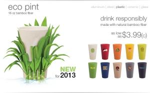 16 oz bamboo fiber eco pint cup.