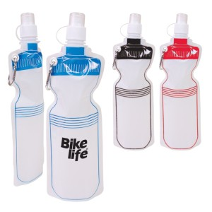 18 oz. reusable BPA-Free flat-folding water bottle featuring stock art designed to look like a traditional bike bottle on both sides. Made of collapsible, bendable plastic that means bottle can be folded and easily stored away when empty and stands like any other bottle when full.
