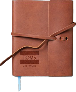 TOMS Shoes recently launched a branded journal built upon Rustico Leather's Small Writer's Log.