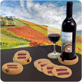 Set of 6 Cork Coasters with Wine Bottle Holder.